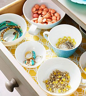 The Hunted Interior | Use old china and teacups to organize small jewelry