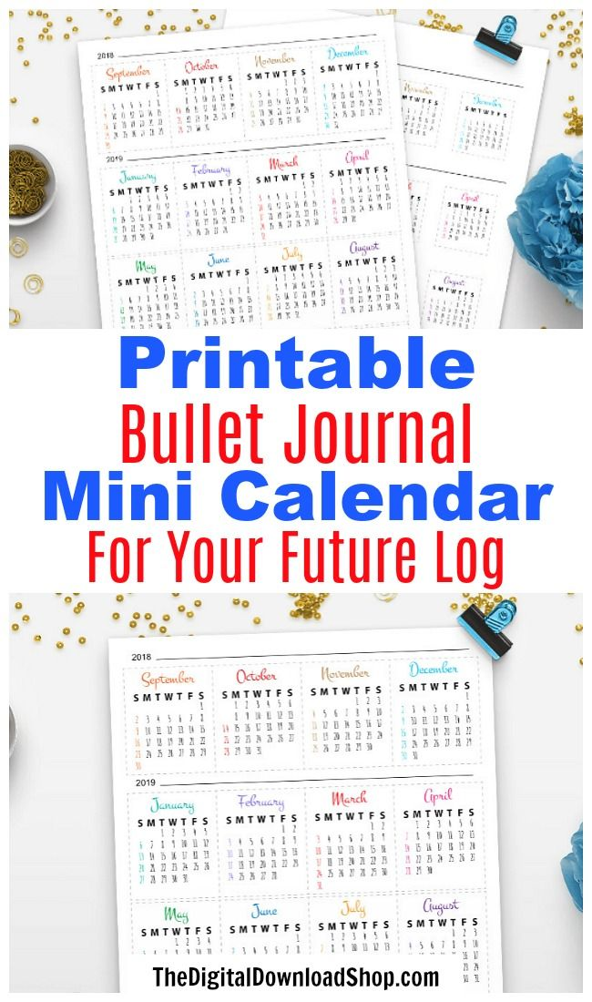 2019 Bullet Journal Mini Calendars Printable Printable
