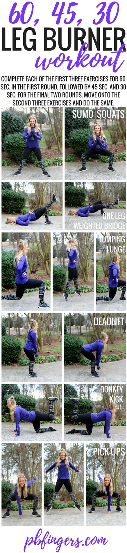60, 45, 30 Leg Burner Workout http://www.pbfingers.com/60-45-30-leg-burner-workout/ This one is a killer but SO awesome. Bonus: You get the hardest part of the workout out of the way FIRST!