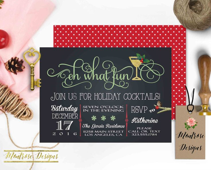 Oh What Fun Christmas Party Invitation, Holiday Party Invitation, Cocktail Party Invitation, Red, Mint , Faux Gold, Martini DIGITAL FILE by montrosedesigns on Etsy https://www.etsy.com/listing/491398047/oh-what-fun-christmas-party-invitation