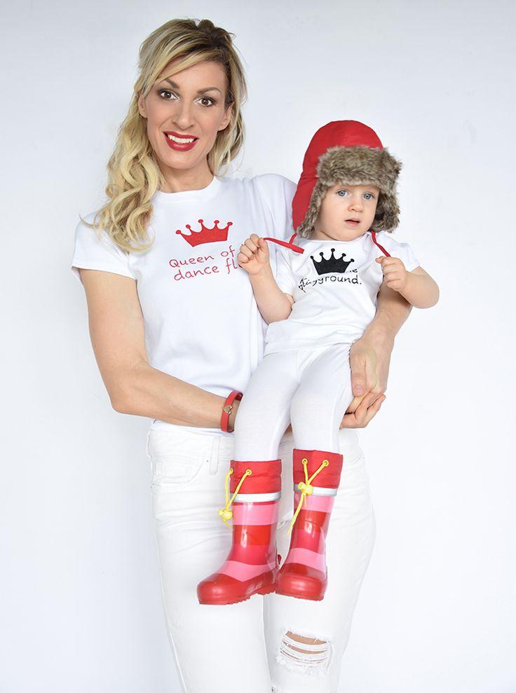T-shirt Set Mama und Baby / Kind mit Krone