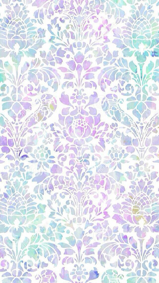 Lavender lilac mint watercolour damask iphone wallpaper phone background lock screen