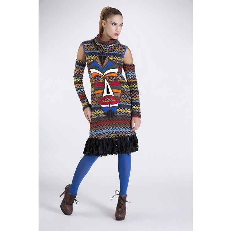 """Knitted dress with fringes and separate sleeves and handmade applique """"Ethnic Mask"""""""