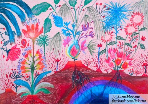<활화산 活花山 Active flowers volcano, oil pastel, 2014>