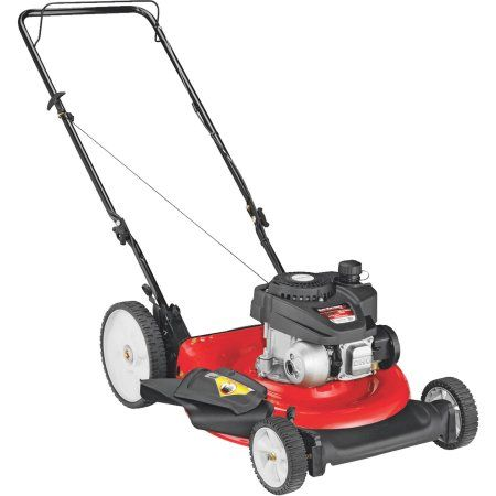 Yard Machines 21 inch Gas Push Lawn Mower with Side Discharge, Mulching and High Rear Wheel, Red
