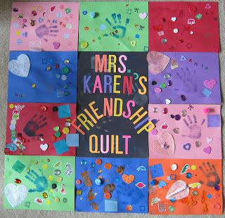 "Friendship ""quilt"" with construction paper. Great way to display each child's individuality while attaching to represent their developing friendships."