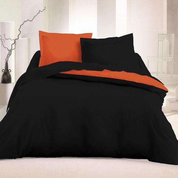 Black & Orange - Cotton Bed Linen Set (Reversible Duvet Cover & Pillow Cases)
