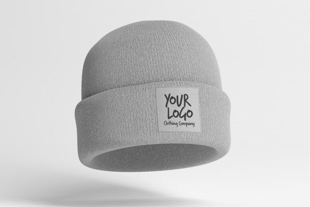 Download View Of A Mockup Of A Beanie With Label Beanie Yellow Beanie Gray Wool Hat