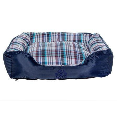 Cama para Cachorros Quadrada Azul com Xadrez Dog's Care - MeuAmigoPet.com.br #petshop #cachorro #cão #meuamigopet
