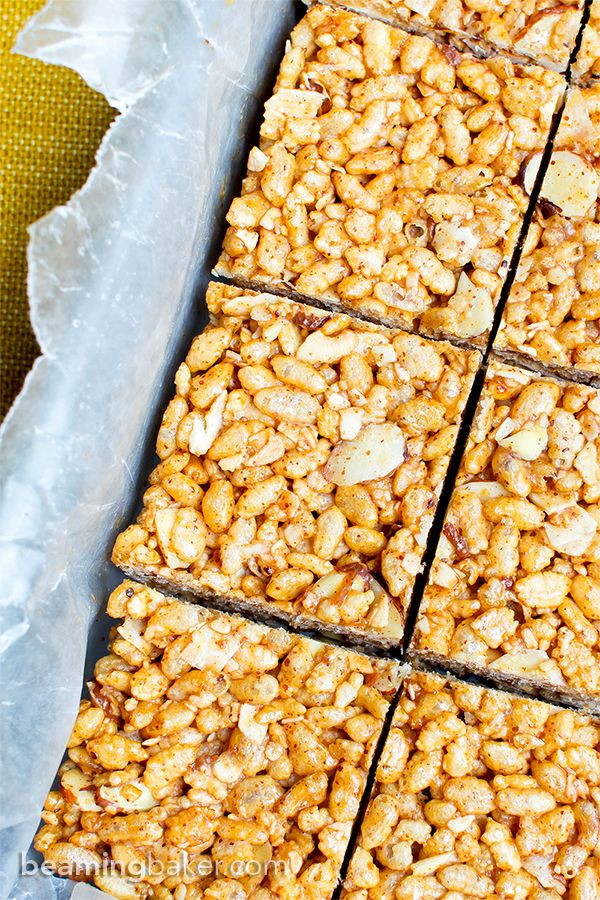 Toasted Coconut Almond Rice Crispy Treats (V+GF): an easy, 5 ingredient recipe…