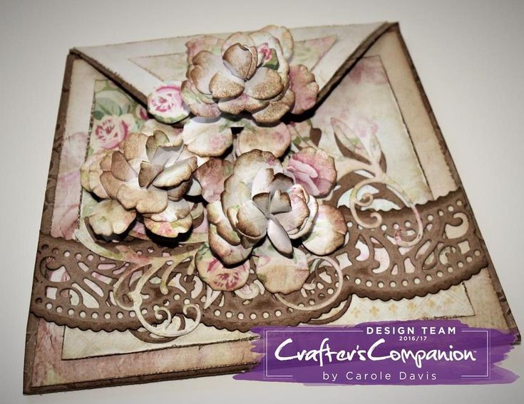 Clutch Bag Card made using Sara Signature Shabby Chic Collection - Antique Edge, Filigree Flourish & Aged Rose dies; Rose Garden folder. Designed by Carole Davis #crafterscompanion #shabbychic