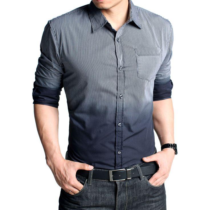Kuegou Long Sleeve Color-Gradient Shirt