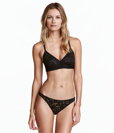 Black. Brazilian briefs in double layers of mesh with a low waist, lined gusset, narrow sides, and thong back.