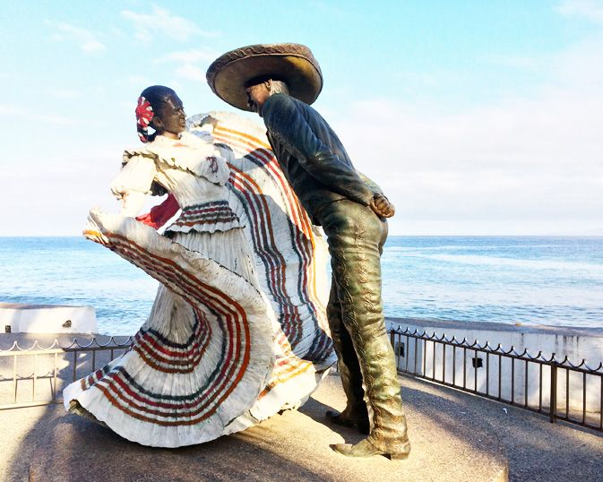 Beautiful sculptures line the Malecon including 'Puerto Vallarta Dancers' created by artist Jim Demetro
