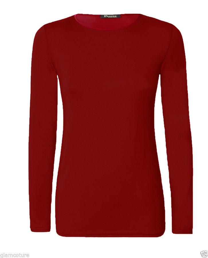 Womens Plain Tshirt Ladies Long Sleeve Scoop Neck T Shirt Top Plus Sizes 8-26 UK