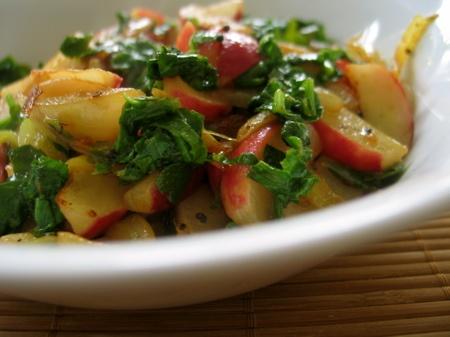 radish curry saute with onions garlic and chili