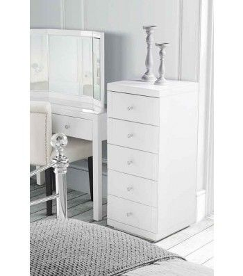 Julianna White Glass Tallboy Chest with 5 drawers