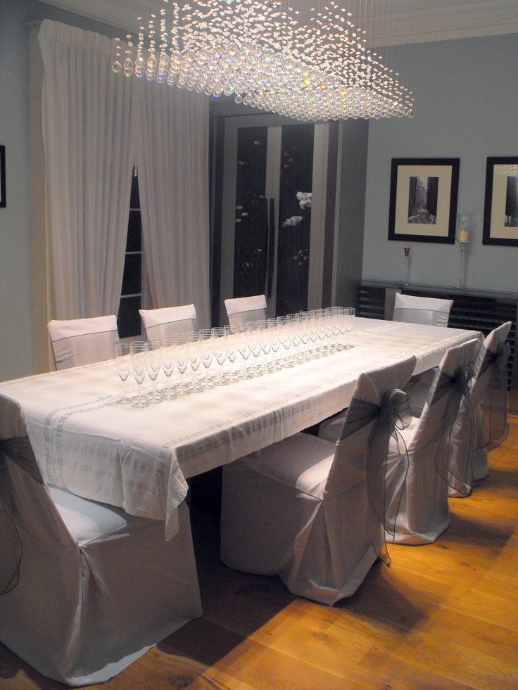 Dark Silver Organza Bows on White Chair Covers
