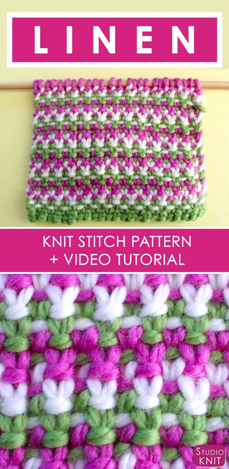 How to Knit the 3 Color Linen Stitch with Free Written Pattern and Video Tutorial by Studio Knit. via @StudioKnit