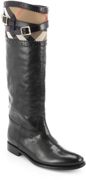 BURBERRY Carington Check Leather Riding Boots - Lyst