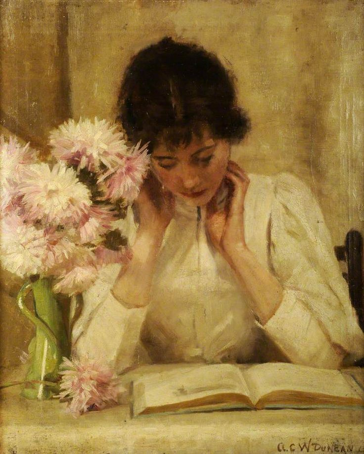 ✉ Biblio Beauties ✉ paintings of women reading letters & books - A. C. Duncan | The Reading Girl, 1896