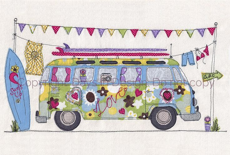 Print of original textile artwork 'Surf's Up'. Machine free motion embroidery. VW Camper van. beach, surfing, summer, holiday, hippy, love. by DaysInDesign on Etsy https://www.etsy.com/listing/190200688/print-of-original-textile-artwork-surfs