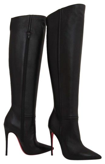 61224e8f3e1 Christian Louboutin Black New 35it Armurabotta Nappa Thigh High Over Knee  Heel Lady Toe Red Sole Boots Booties Size EU 35 (Approx. US 5) Regular (M