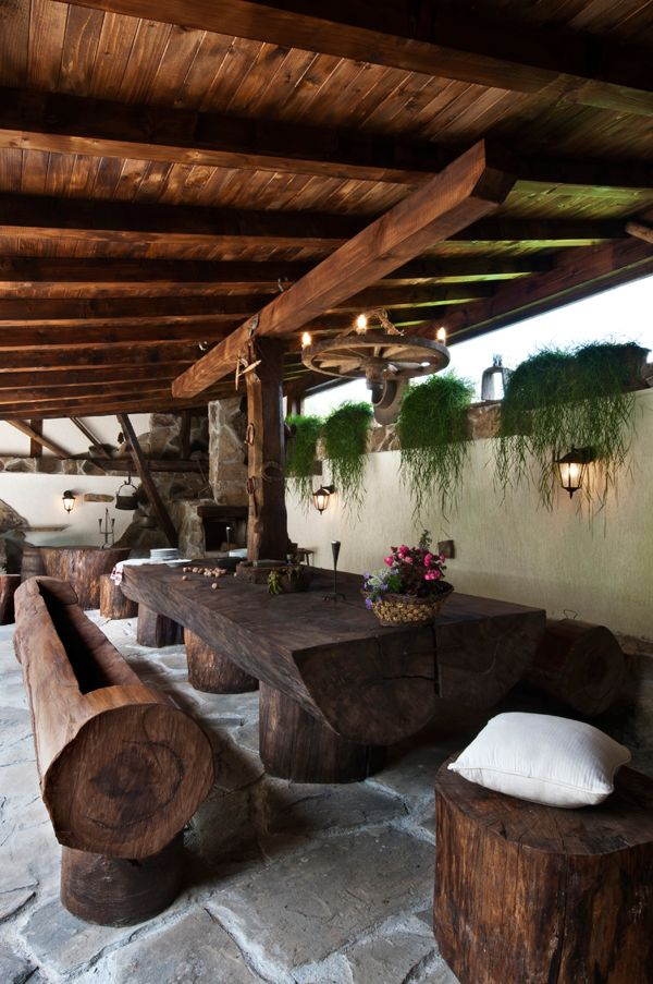 Natural wood outdoor dining area