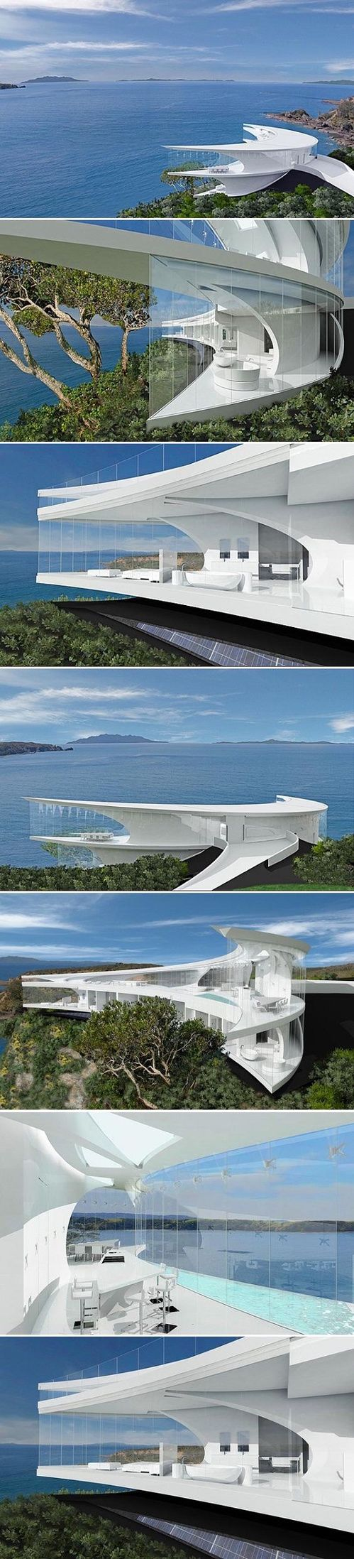 "The Mahina House – Futuristic house, Kawau Island, North of Auckland, New Zealand. Designed in a curved crescent shape with ceiling-to-floor glass and a modern, white interior design. The house has a floor area of 827sq m and will feature a plant room, deck, swimming pool and ""thermal mass"" to regulate internal temperatures. ."