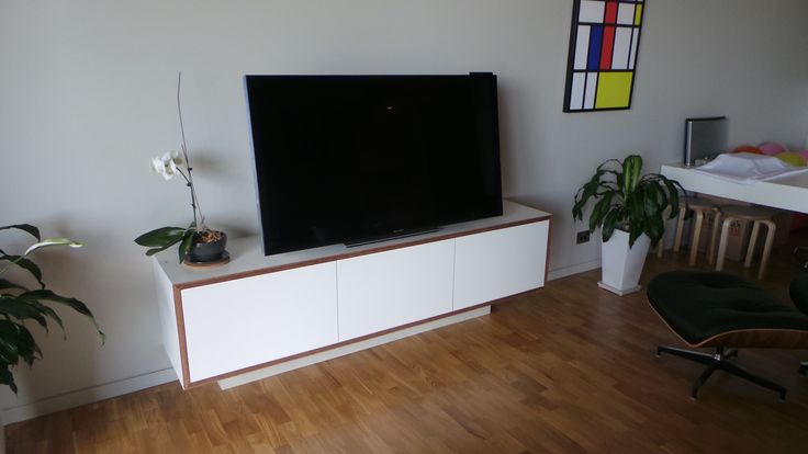White Laminate sideboard with exposed ply edges