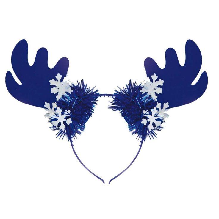 Rendier gewei tiara blauw/wit.