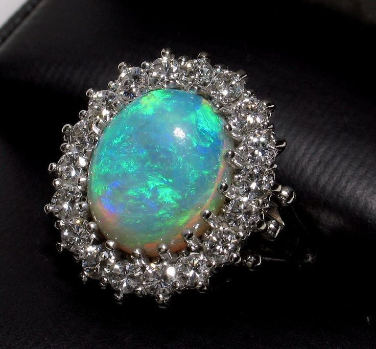 14k 3.58ct Fiery Opal with 1.06cts Diamonds Ring-Appraisal over $5000!