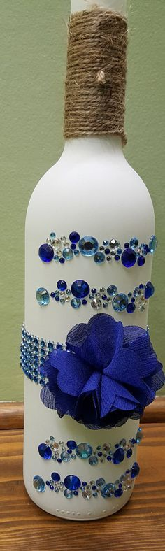 White Decorated Bottle by Craftswithglassnmore on Etsy