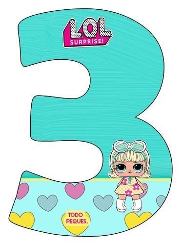 Numero 3 De Lol Suprise Mu 241 Ecas Moldes Numeros Lol Dolls