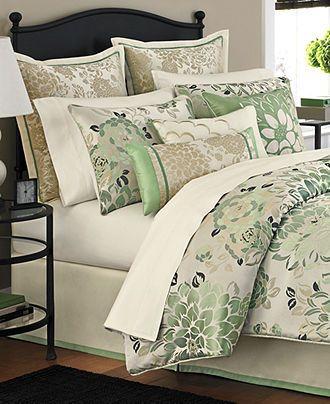 Martha Stewart Collection Bedding Jade Flowers 9 Piece
