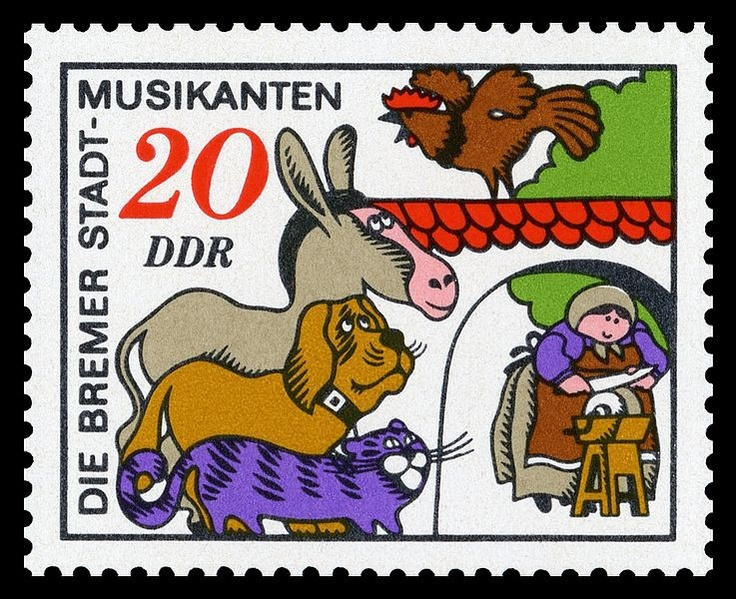 Part of a 1971 German set based on the Town Musicians of Bremen.