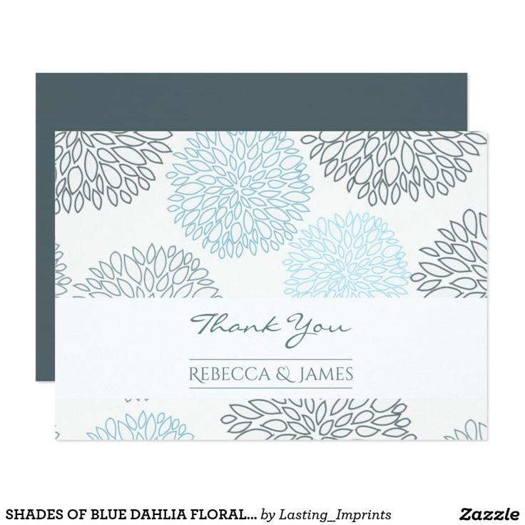 SHADES OF BLUE DAHLIA FLORAL THANK YOU CARD