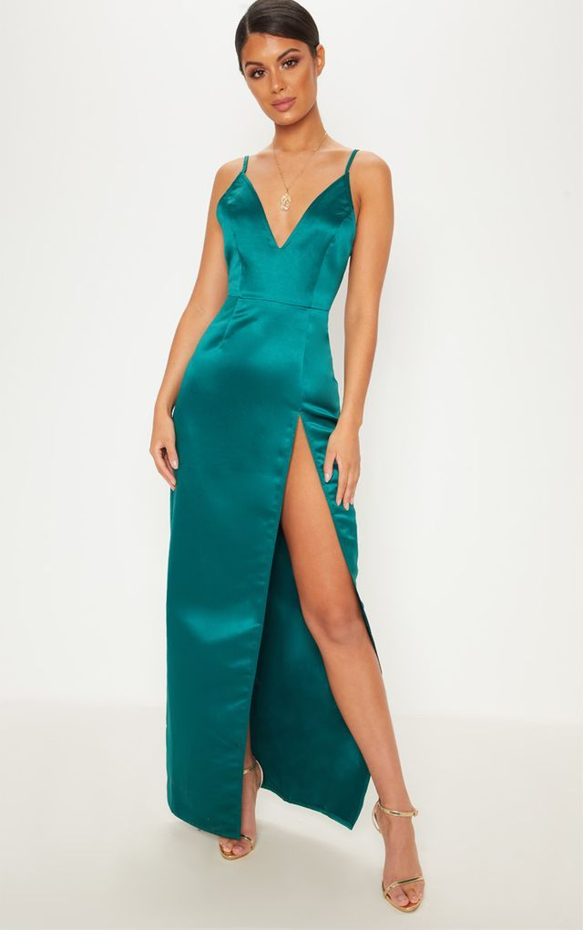 d8ef9cb62a226 Emerald Green Satin Strappy Plunge Extreme Split Leg Maxi Dress ...