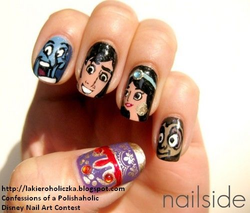 AMAZING! My fave movie combined with my fave hobby.. I need someone to do this for me.. Aladdin Nails <3