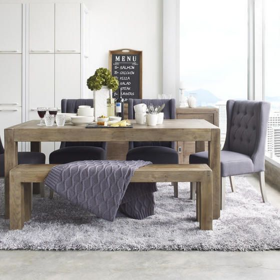 Post and Rail Dining Table - Driftwood