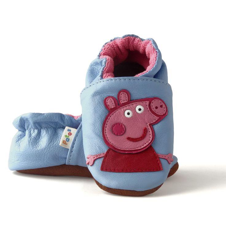 zapatos primeros pasos de suela blanda en cuero antideslizante con diseño de Peppa Pig. Encuentra mas diseños en nuestra página web patoszapatos.com.