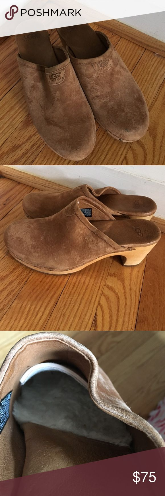 Very lightly worn(almost new ) Ugg clogs Camel colored Ugg clogs. Worn twice, soft inside fur! UGG Shoes Mules & Clogs