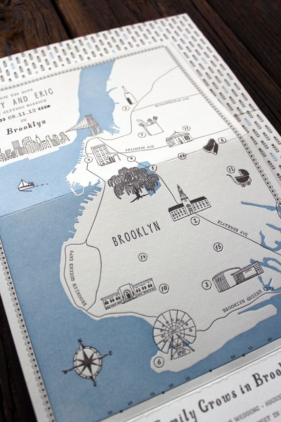 Brooklyn Letterpress Wedding Map Save The