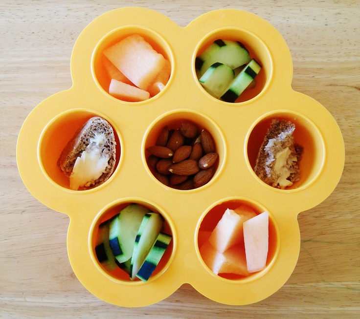 Cute muffin-tin-turned-nibble-tray!  Great for toddlers to play and munch, munch and play throughout the day!