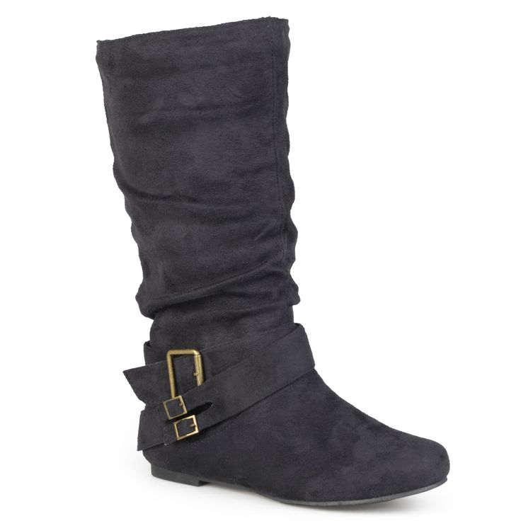 These Shelley boots by Journey Collection have a classic slouchy design for a fall-ready style. These mid-rise boots feature a rounded toe design with flat sole, and are accented with stylish straps adorning antiqued buckles across boot ankle.