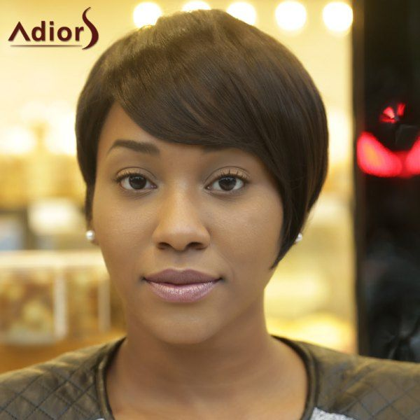 Spiffy Short Fluffy Adiors Side Bang Synthetic Hair Wig