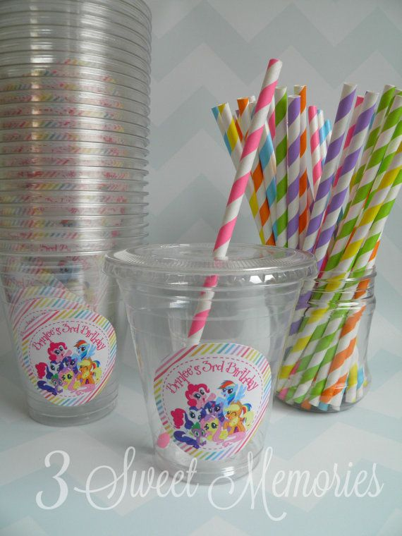 My Little Pony Party Cups, Lids & Straws - Set of 24