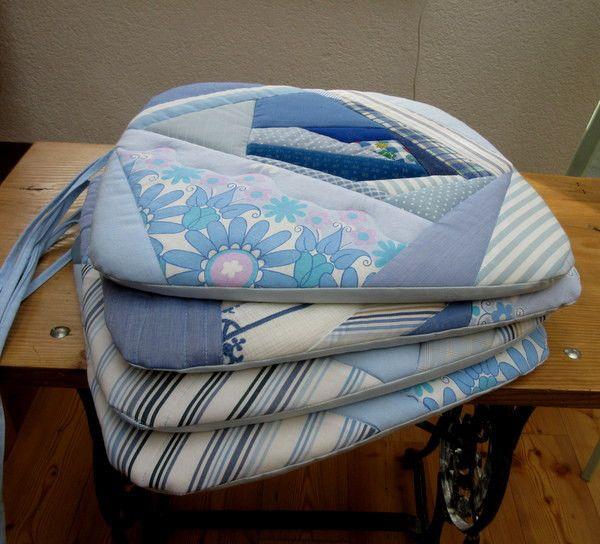 Stuhlauflagen - Sitzauflage Stuhl Sitzkissen  Patchwork  hellblau - ein Designerstück von Gasani bei DaWanda