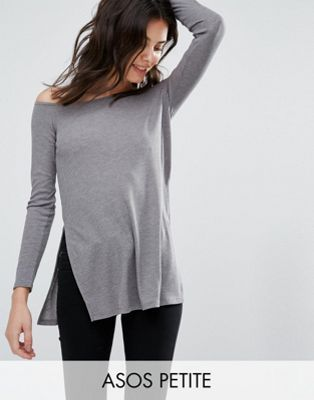 ASOS PETITE Off Shoulder Slouchy Top with Side Splits