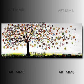 Produzione Quadri moderni astratti - 100% dipinti a mano. Serie ALBERI - Quadri Moderni Astratti Multicolor
